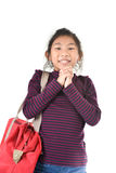 Asian girl holding red bag over white Royalty Free Stock Image