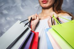 Asian girl holding shopping bag vintage. Royalty Free Stock Photography