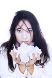 Asian girl holding tissue isolated in white Stock Photography