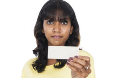Asian girl holding a white card Royalty Free Stock Images