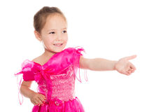 Asian girl holds out his hand in greeting. Royalty Free Stock Images