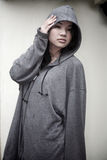 Asian girl in a hooded jacket Stock Photos