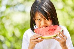 Asian girl is biting into a watermelon. Asian girl is hungryly biting into a juicy watermelon Royalty Free Stock Photo