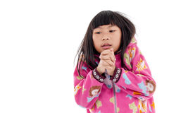 Asian girl in jacket with hood on white. Royalty Free Stock Photos