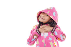 Asian girl in jacket with hood on white. Stock Photos