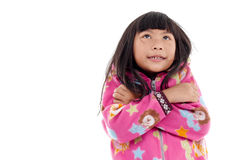 Asian girl in jacket with hood on white. Royalty Free Stock Image