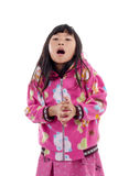 Asian girl in jacket with hood on white. Stock Image