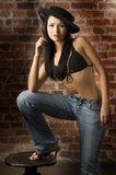 Asian girl in jeans and bra Royalty Free Stock Images