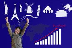 Asian Girl with keeping budget for traveling plan Stock Image