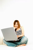 Asian girl with laptop Stock Image