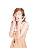 Asian girl laughing listen to music Royalty Free Stock Photos