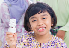 Asian girl lightbulb idea Stock Images
