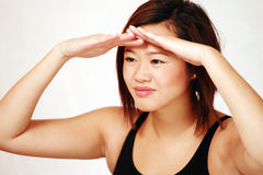 Asian girl looking ahead Royalty Free Stock Images