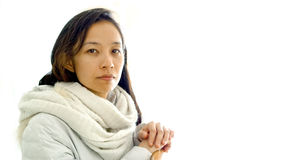 Asian girl looking at camera with serious face Stock Image