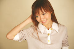 Asian girl looking to the side Royalty Free Stock Photos