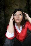 Asian girl looking up Royalty Free Stock Images