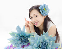 Asian girl make up spa model in flowers Stock Photography