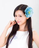 Asian girl make up spa model in flowers Stock Image