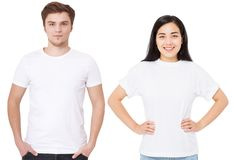 Asian girl and man in blank template t shirt isolated on white background. Guy and young woman in tshirt with copy space and mock. Asian girl and men in blank royalty free stock photo