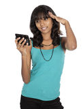 Asian girl with mobile phone Royalty Free Stock Photo