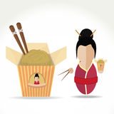Asian girl with noodles. Vector illustration Asian girl with noodles in hand Royalty Free Stock Photo