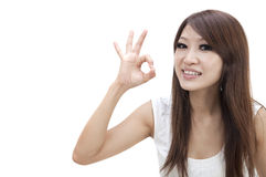 Asian girl ok sign Royalty Free Stock Photo