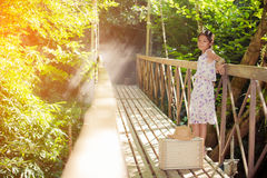 Asian girl on the old bridge. In the forest Royalty Free Stock Photo