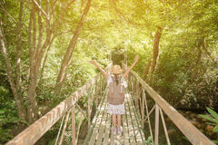 Asian girl on the old bridge. In the forest Royalty Free Stock Photos