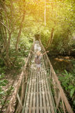 Asian girl on the old bridge. In the forest Royalty Free Stock Photography