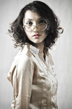 Asian Girl with old glasses 10. Portrait of an Asian girl who was wearing an old glasses in the studio, bali Stock Photography