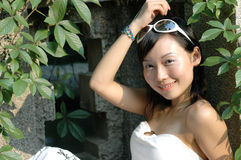 Asian girl outdoors Royalty Free Stock Photos