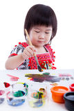 Asian girl painting and using drawing instruments, creativity co Stock Photography