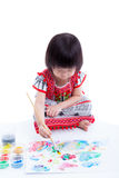 Asian girl painting and using drawing instruments, creativity co Royalty Free Stock Photography