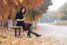 an Asian girl in the park Stock Photos