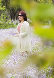 An Asian girl in the park. A Chinese girl is standing in the flower and smiling Royalty Free Stock Photo