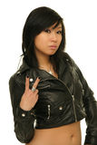 Asian girl peace sign Royalty Free Stock Images