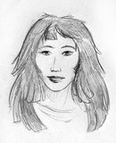 Asian girl - pencil sketch Royalty Free Stock Photo