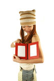 Asian girl with photo frames Royalty Free Stock Photos