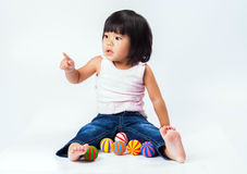 Asian girl play colour ball Royalty Free Stock Photos