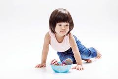 Asian girl play colour ball Stock Photo