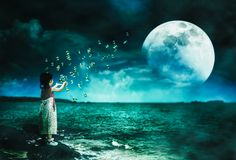 Asian girl playing with soap bubbles. Super moon behind partial cloud on sky stock illustration