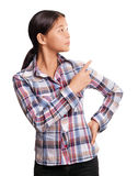 Asian Girl With Pointing Finger Stock Images
