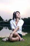 Asian girl portrait. A beautiful asian girl portrait in garden Stock Photo