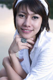Asian girl portrait. A beautiful asian girl portrait in garden Stock Photos