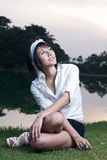 Asian girl portrait. A beautiful asian girl portrait in garden Royalty Free Stock Image
