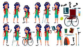 Asian Girl Poses Set Vector. Teenage. Health Concept. Cyborg, Hybrid. Wheelchair. Amputation Prosthesis. For Web, Poster vector illustration
