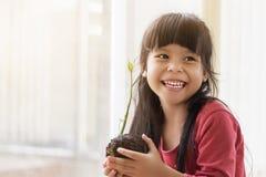 Asian girl prepares seeds. To grow Royalty Free Stock Photos