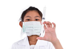 Asian girl pretending to be a doctor Stock Photography