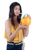 The Asian girl quench thirst. Stock Image
