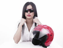 Asian girl racer Royalty Free Stock Images